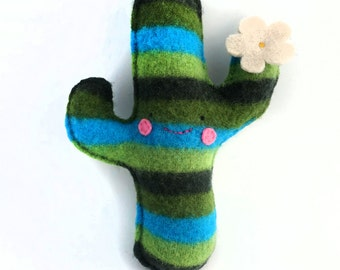 Green Striped Flowering Saguaro Cactus - Recycled Cashmere Plush Toy