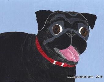 Pug Print - Happy Black Pug - A15