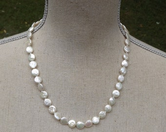 HALF OFF sale White Coin Pearl necklace handmade unique bridal truly one of the kind
