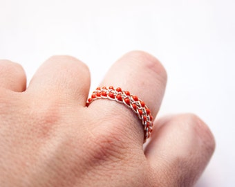 Red Braided Ring, Wire Wrapped Ring, Silver Ring Band