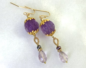 Antique Amethyst Carved Bead Earrings, 22kg Vermeil, Gorgeous Fine Gemstones...
