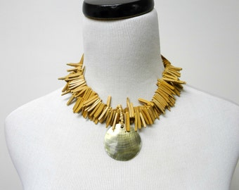 MONICA . mother of pearl and coco shell . double strand . fringe necklace / choker