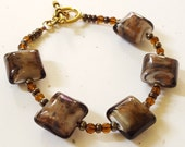 Beaded Bracelet Chunky Cubes/ Brown And Gold/ Glass Beaded Cotton Cord With Toggle Clasp/ Handmade Jewelry/ Womens Bead Accessories