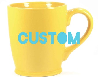 CUSTOM Yellow Mug, Mustard Coffee Cup - Choose your etched design