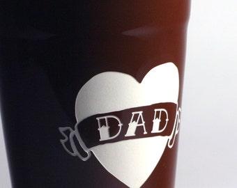 Dad Tattoo Heart - Brown Travel Mug