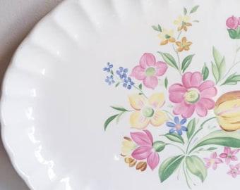 Pretty Vintage 50s Flower W S George Bolero Shabby Chic Platter Tray