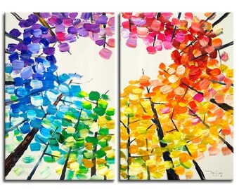 Looking Up, Original acrylic painting, Tree art, modern art, wall art, stretched canvas art, colorful aspen painting by tim Lam 48x24