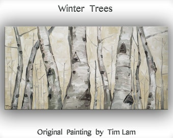 Original art Abstract Painting large Oil Painting, aspen tree art fall Landscape Painting by tim lam 48x24x1.4