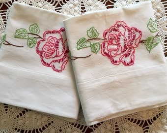 Vintage Embroidery Pillow Cases - Rose Flower Garland Pillowcases, Pair - Green Red Blue Pink - New Unused - Crisp Cotton Muslin