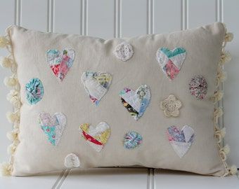 Quilted Heart Pillow with Pom Fringe - Natural Pastels - Pom Trim - Cottage Country - CatNap Cottage