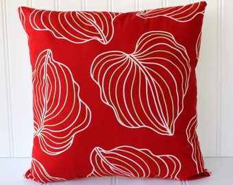 Botanical Leaf Pillow - True Red with Green and Tan - White Back - Fresh Modern