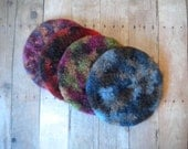 Felted  Wool  Coasters, Round, Set of 4, Crocheted, Handmade, Mixed Variegated Colors, Fulled