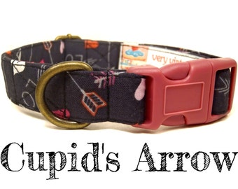 "Charcoal Gray Arrows Hearts Love Girl Valentine Dog Collar - Organic Cotton - Antique Brass Hardware - ""Cupid's Arrow"""