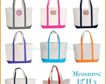 Personalized Boat Tote - Monogrammed Boat Tote, HEAVY DUTY 18 oz Natural Canvas custom bridesmaids totes, monogram beach totes with zipper