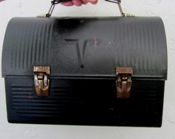 Mid-Century Black Metal Domed Lunch Box, Lunch Pail, Lunch Bucket