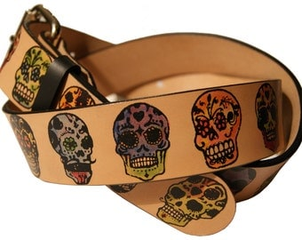 Sugar Skulls/Day of the Dead Leather Belt