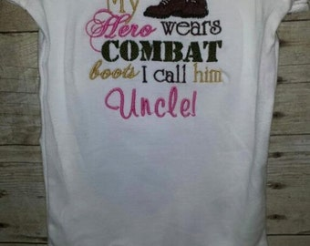 My Hero wears combat boots I call him her Uncle Aunt Grandpa Grandma Daddy Tshirt Bodysuit Embroidered