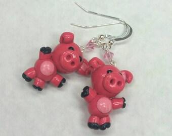Adorable pink piggies pig dangle earrings sterling silver Swarovski crystal bling