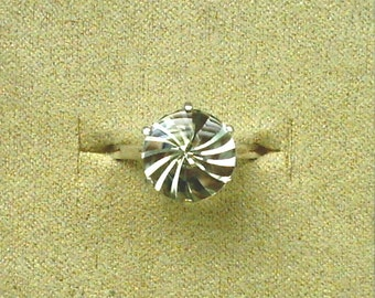 12mm Prasiolite Green Amethyst Buff Top with Concave Spiral Cut in 925 Sterling Silver Ring Size 11