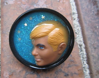 Ken in Profile under the stars - upcycled bottle cap ring
