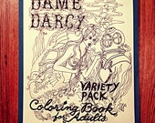 Adult Coloring Book,  Dame Darcy, Variety Pack ,22 Illustrations , hand paint , color , yourself