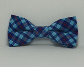 Royal Blue and Red Plaid Bow tie, Boy's Bowtie, Toddler Tie, Baby Bow Tie