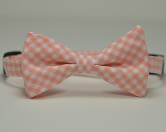 Peach Boy's Bow Tie, Gingham Bowtie, Coral Tie, Toddler Tie, Baby Bow tie, Mint Tie, Ring Bearer Bow Tie