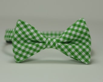 Kelly Green Boy's Bow Tie, Gingham Bowtie, Christmas Bow Tie, Toddler Tie, Baby Bow tie, Mint Tie, Ring Bearer Bow Tie
