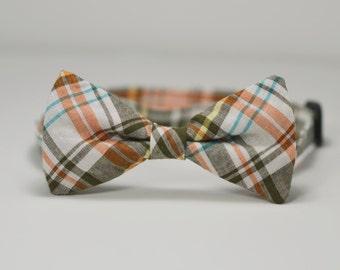 Fall Plaid Men's Bow tie, Orange and Brown Plaid Bowtie, Self tie bow tie, Autumn Wedding