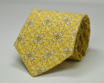 Yellow Floral Necktie, Yellow and Gray Wedding, Gray and Yellow Floral Tie, Men's Necktie, Skinny Tie