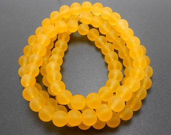 50 Golden Yellow Matte Sea Glass Beads 8mm frosted beach glass round (H5004)