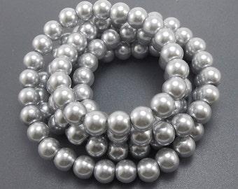 50 Metallic Silver Glass Pearl Beads 8mm (H2046)