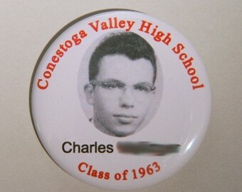 """Reunion Pin back button - OR Design your own 2.25"""" - Class reunion name tag - High school reunion name tags - College reunion name tags"""