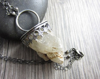 Rough Quartz Crystal Terminated Necklace in Sterling Silver