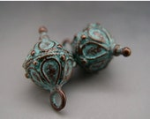 BIG SALE Bali Style Fancy Drop Dangle Charms Pair Mykonos Greek Copper Antiqued Green Turquoise Naos