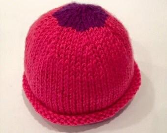 Pink + Purple Newborn Knit Baby Hat - Handmade - READY TO SHIP