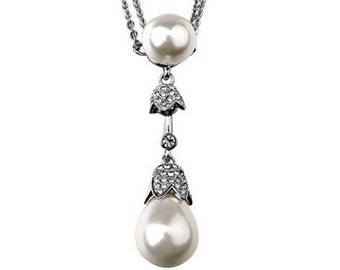 Bridal Pearl Drop Pendant Necklace Wedding Pearl Jewelry