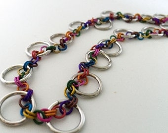 Colorful Rainbow Necklace Handmade