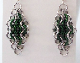 Silver and Green Diamond Dangle Chainmaille Earrings Handmade