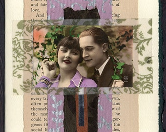 Old Garden Love Collage Card Engagement Wedding Anniversary
