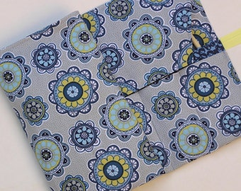 circular knitting needle case - double pointed knitting needle case - knitting organizer - medallion print in blues, yellow and gray