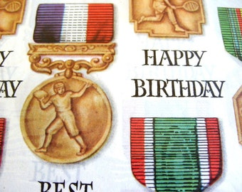 Vintage Rust Craft Happy Birthday Sportsmen's Day Gift Wrap Scrapbooking Decopouge Altered Art Collage