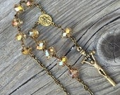 Champagne Topaz faceted crystal 1-decade Catholic Rosary for your car mirror