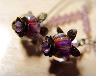 Purple Boro Lampwork Bead Bell Flower Earrings