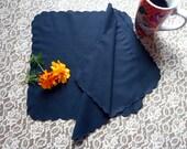 Handkerchiefs Ladies Black Cotton Pair with Scalloped Edge 11 inches