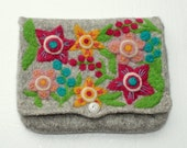 Felted bag pouch purse clutch gray wool hand knit needle felted colorful flowers