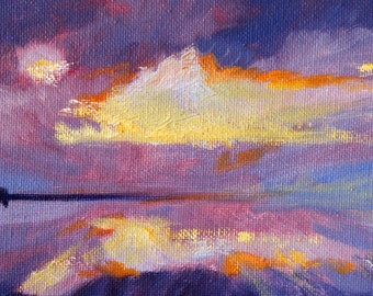 Landscape Oil Painting, Original Beach Scene, Sky Reflection, Purple Ocean, Blue Sea, Clouds Seascape, Small 4x6 Canvas, Orange Yellow, Pink