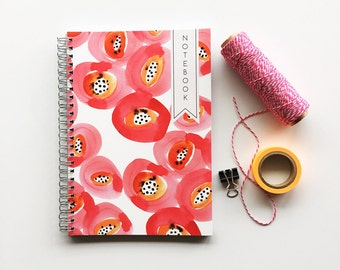Poppies patterned, spiral bound A5 notebook for doodles, planning and brilliant ideas - 100 pages - Plain paper inside - Handmade