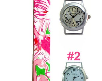 2015 Lilly Pulitzer Pink Colony Fabric Wrist Band with or without Silver Watch Face