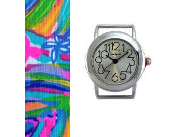 2015 Lilly Pulitzer Summer Haze Fabric Wrist Band with or without Silver Watch Face